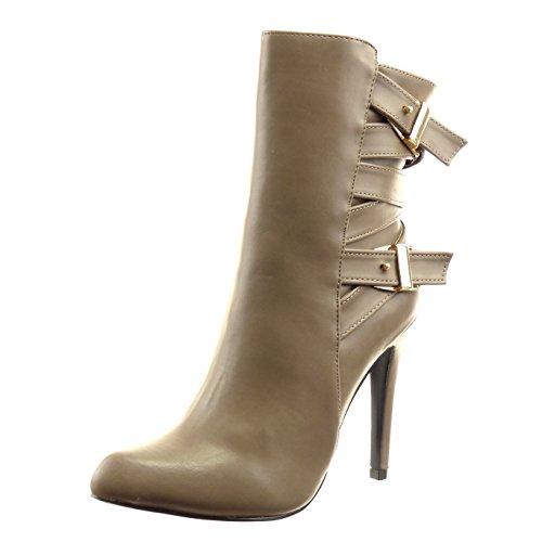 Sopily - Scarpe da Moda Stivaletti - Scarponcini stiletto alla caviglia donna tanga fibbia Tacco Stiletto tacco alto 11 CM - Taupe