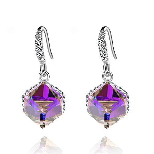 Silver Cube Earrings - Colorful Cube Swarovski Crystal Earrings for Women Girls 14K Gold Plated Color Changing Drop Earrings (Purple Crystal/Silver-tone)