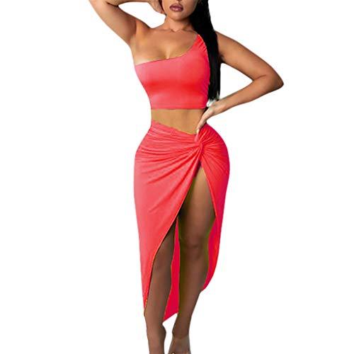 (Nevera Women Sexy Bodycon Slit Skirt One Shoulder Crop Tops Dress 2 Pieces Set Pink)