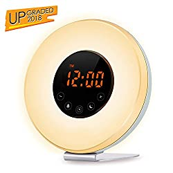TecBillion Wake Up Light Alarm Clock - Sunrise Simulation Alarm Clock (2018 Upgraded) With 6 Natural Sounds, FM Radio, Snooze & Sunset Function For Heavy Sleepers, Touch Control 7 Color LED Light