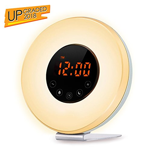 Clock Alarm Light Natural (TecBillion Wake Up Light Alarm Clock - Sunrise Simulation Alarm Clock (2018 Upgraded) With 6 Natural Sounds, FM Radio, Snooze & Sunset Function For Heavy Sleepers, Touch Control 7 Color LED Light)