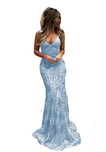 Light Sky Blue Long Sexy Mermaid Formal Prom Dresses V-Neck Open Back Sequin Evening Party Gown