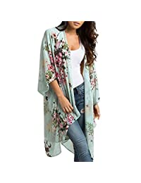 f95d65841c Women's Floral Print Sheer Loose Kimono Cardigan Capes Boho Chiffon Shawl  Top Cover Up Blouse Beachwear