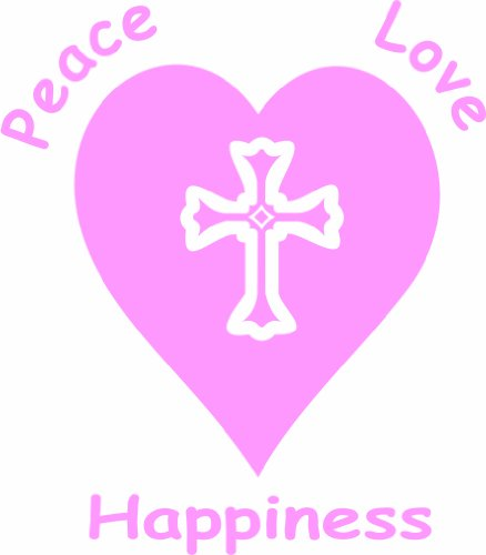 Pink Peace Heart (Christian Cross Heart Peace Love Happiness 5.5
