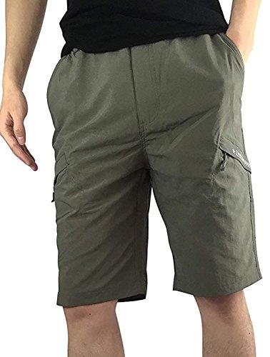 InStylish Men Outdoor Shorts Cargo Elastic Waist 100% Waterproof Quick Dry,Ag,Medium