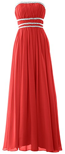 MACloth Women Strapless Chiffon Long Prom Dress Evening Formal Gown with Beading Rojo