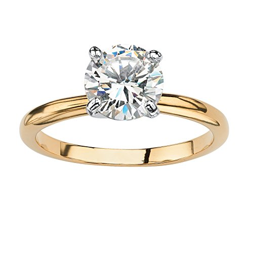 18K Yellow Gold Plated Round Cubic Zirconia Solitaire Engagement Ring Engag