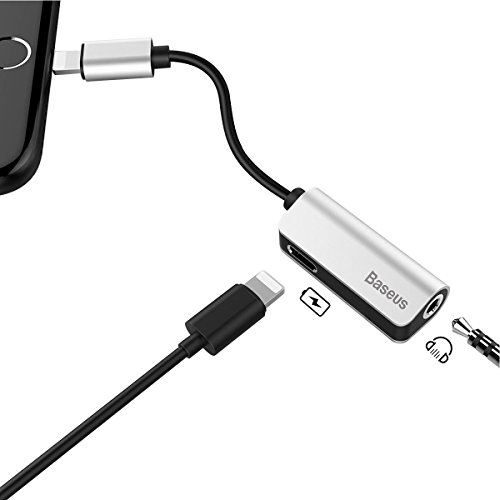 Baseus iPhone Headphone Adapter [Upgrade],Lightning to 3.5mm Aux Headphone Jack Audio & Charge Cable Adapter for iPhone 7/7Plus (Support iOS 10.3; iOS 11)