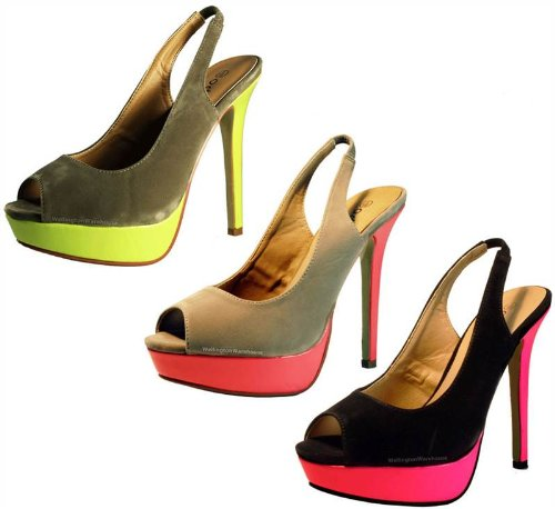 Odeon Chaussures à talon daim doux Bout et arrière ouverts Femme - - Chair/rose fluo, 38.5 (6 UK)