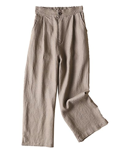 Aeneontrue Women's 100% Linen Wide Leg Pants Capri Trousers Back with Elastic Waist Dark Khaki ()