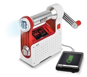 Eton Axis - Radio dinamo con foco y cargador USB para teléfonos, color rojo y blanco