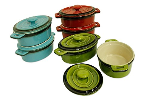 Kitchen Collection Set of 2 Mini Ceramic Casserole Baking Dishes Assorted Colors 08653
