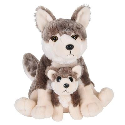 """12"""" and 6"""" Birth of Life Wolf Plush Toy By Hands On Learning"""