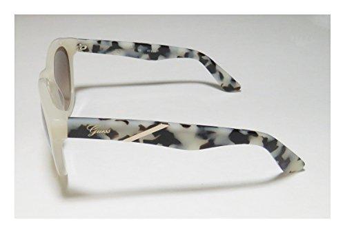 Guess Trou de serrure ronde lunettes de soleil en noir - GU7344BLK-3551 GU7344 C38 51 Brown Gradient Ivory
