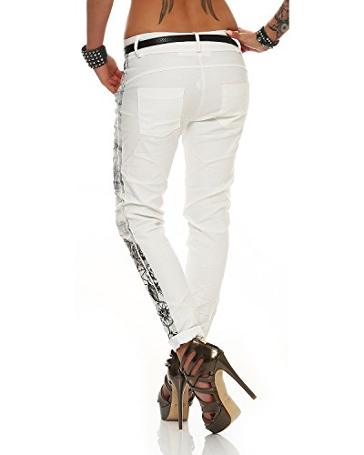 Letter Zarmexx stampa Bianco 10912 fantasy Jeggings Boyfriend Ladies Pants Jeans Baggy Chinos Stretch 11Bgar