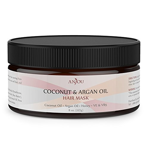 Anjou Coconut Oil Hair Mask 8Oz, After Shampoo Hair Treatment for All Hair Type, Deep Argan Oil Conditioner for Dry Damaged Hair Color & Curly Treated Hair and Hair Loss