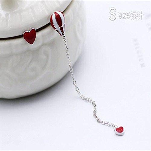 usongs 925 needles hot air balloon love red long section asymmetric enamel drop earrings lovely -