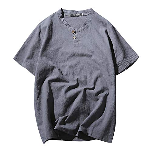 Shirt Hipster Men,Men's Summer New Cotton-Linen Short-Sleeved Top Fashionable Pure Cotton Hemp Top,Men's Big & Tall Undershirts,Gray,XL