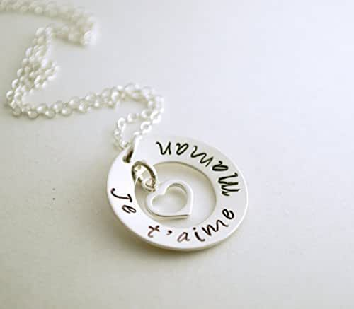 love pendant French I Love You pendant 14k gold plated 34 diameter pendant with a 14k gold plated rope chain Je T/'Aime pendant