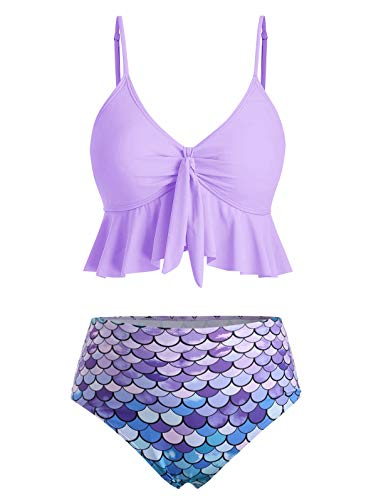 CNSTORE Summer Women's Comfortable and Sexy Knot Flounce Scale Print Mermaid Tankini Swimsuit Mauve