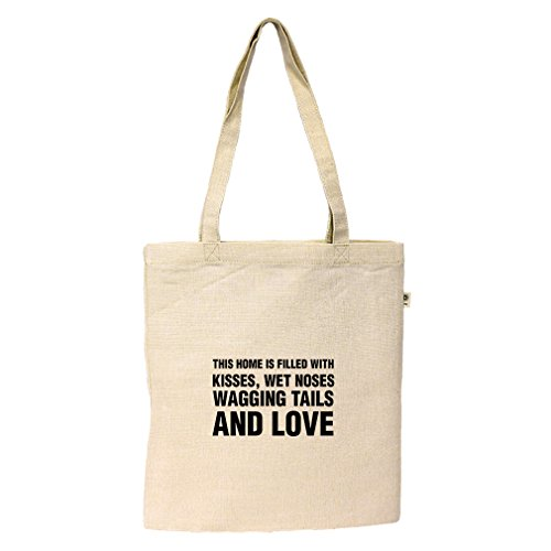 Kisses Wet Noses Wagging Tails & Love Hemp/Cotton Flat Market Tote Bag Tote