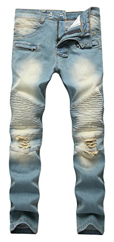 Wholesale Fashion Jeans (Men's Vintage Biker Moto Ripped Distressed Fashion Skinny Fit Denim Jeans)