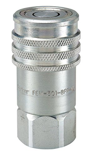 Parker Hannifin FEM-501-12FO-NL Series FEM Steel Non-Spill Flush Face Hydraulic Quick Coupler, Push-to-Connect, 1/2