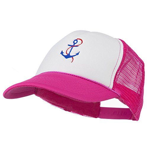 White Chain Anchor Cap (E4hats Anchor with Chain Embroidered Foam Mesh Back Cap - Hot Pink White OSFM)