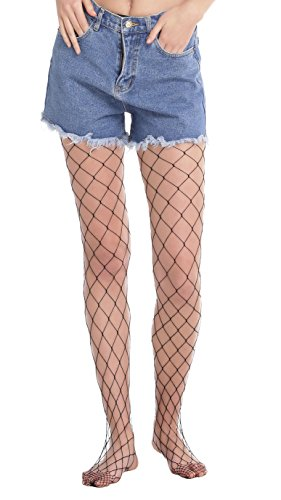 Abollria Girls Ladies Fishnet Stockings Tights Pantyhose Black One Size Large Hole