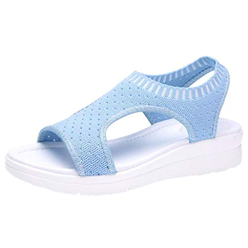 HAPPYSTORE Women Sandals Breathable Summer Hollow Out Wedges African Heel Flat Peep Toe Flip Flop US:5-10 Sky ()