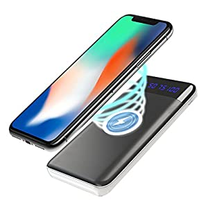 Wireless Battery Charger 10 000 mAh - Qi Portable Power Bank Wireless Charging Battery Pack for All Qi enabled Phone and Smartphone Android Samsung Galaxy Note 8 S8   Apple iPhone X / 8 / 8 plus