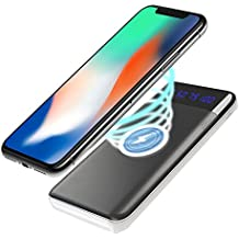 Wireless Battery Charger 10 000 mAh - Qi Portable Power Bank Wireless Charging Battery Pack for All Qi enabled Phone and Smartphone Android Samsung Galaxy Note 8 S8 | Apple iPhone X / 8 / 8 plus