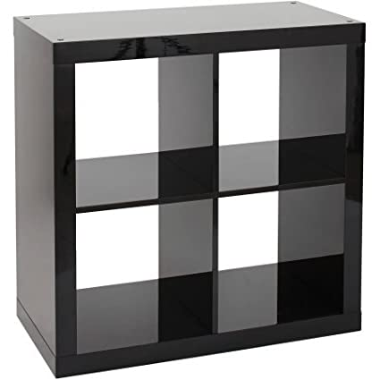 Better Homes And Gardens Bookshelf Square Storage Cabinet 4 Cube Organizer High Gloss Black