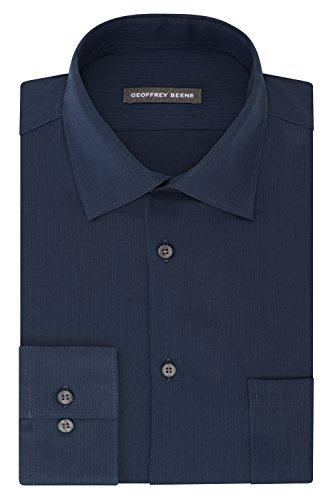 Geoffrey Beene Men's Textured Sateen Fitted Solid Spread Collar Dress Shirt, Riviera Blue, 17