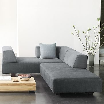 West Elm Tillary Modular Seating Set Three   Henna, 2 Sofas, 4 Back