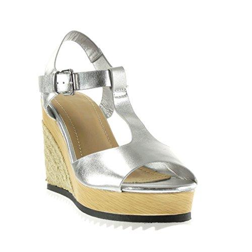 Salomés Toe Angkorly Plateforme compensé Femme Peep Talon CM Argent 11 Corde Plateforme Bois Brillant Chaussure Espadrille Sandale Mode rXxqR40wX