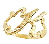 Letter Ring K Initial Band 14k Yellow Gold Cursive Alphabet, Size 8