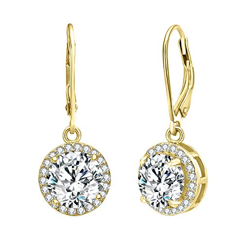 (EVER FAITH Women's 925 Sterling Silver Clear Prong Setting CZ Charm Round Dangle Earrings Gold-Tone)