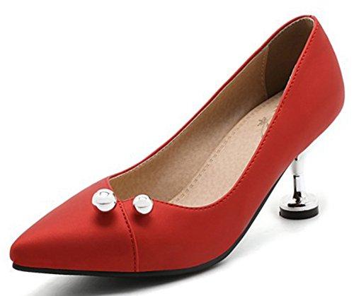IDIFU Women's Elegant Beaded Closed Pointed Toe Low Top Slip On Mid Kitten Heels Pumps Shoes (7 B(M) US, Red)