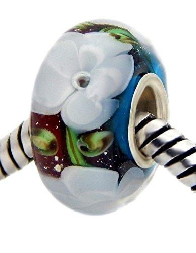 J&M Handmade White Jasmine Flowers Murano Glass Charm Bead for Bracelets ()