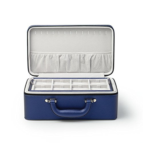 Oirlv Blue Leather Jewelry Box Handmade Travel Jewelry Organizer Storage Case Holder For Girl Lady Earring,Ring,Necklace,Pendant,Watch,Bracelet.(3 layers) by Oirlv