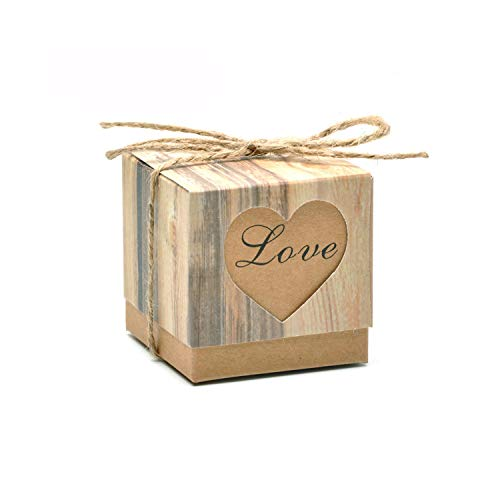 100Pcs Romantic Lover Black Heart Window Candy Box Wedding Decoration Vintage Kraft Favors Gift Boxes with Burlap Twine Chic,Love