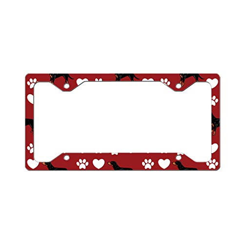Style In Print Custom License Plate Frame Transylvanian Hound Dog Red Aluminum Cute Car Accessories Narrow Top Design Only Set of 2