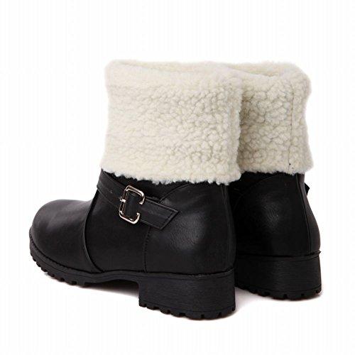 Carol Schoenen Dames Warm Gesp Koud Weer Winter Gebruik Comfort Dikke Hak Snowboots Zwart