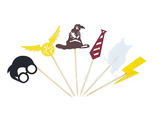 Astra Gourmet Harry Potter Inspired Cupcake Toppers & Happy Birthday Felt Garland Party Supply, Harry Potter Wizard Birthday Party Favors Hogwarts Party Decor(24pcs toppers and 1pc banner)