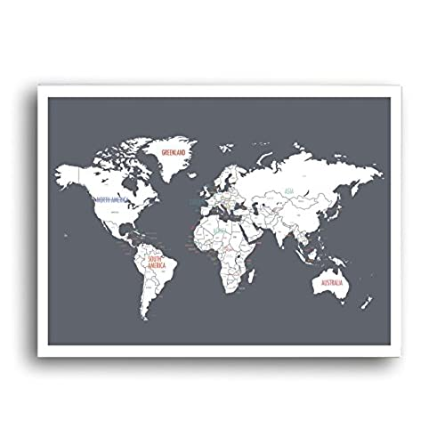 Grey world map wall decor on canvas amazon world map wall art charcoal grey gumiabroncs Images