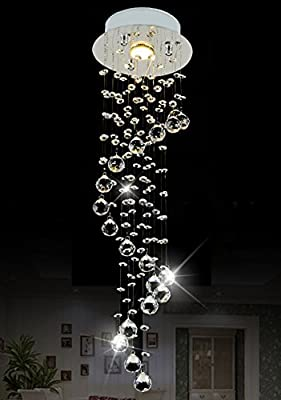"ShiJia Modern Mini Crystal Chandelier Lighting Raindrop 1 - Light Pendant Lighting D7.9"" x H29.5"""
