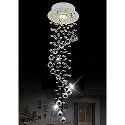 "Siljoy Raindrop Chandelier Lighting Modern Crystal Ceiling Lighting D7.9"" x H29.5"""