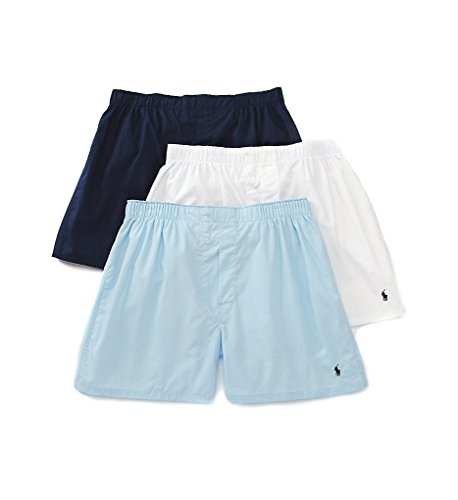 Classic Woven Boxer 3-Pack, navy, white and blue, Medium ()