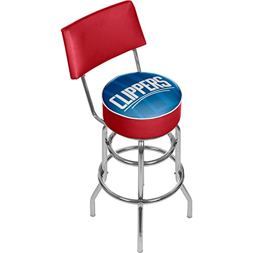 - Trademark Gameroom NBA1100-LAC2 NBA Swivel bar Stool with Back - Fade - Los Angeles Clippers